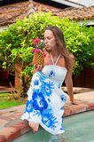 Lively woman with pineapple Royalty Free Stock Photography