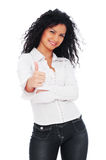 Lively woman showing thumbs up. Isolated on white background Stock Images