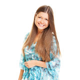 Lively young woman. With long hair. isolated on white Stock Photography