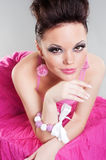 Lively young woman in dress. Lively young woman in pink dress Stock Images