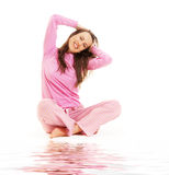 Lively young woman sitting Stock Photography