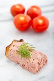 Liver and apple pate on a marble background Royalty Free Stock Photography