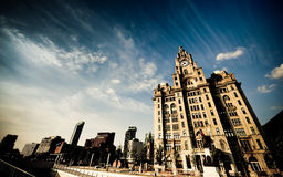 Liver building during daytime with blue sky and cl Stock Photo