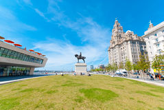 Liver Building. Iconic Liver Building in Liverpool, England, UK, with a statue of Edward VII, King of England, in front of it royalty free stock image