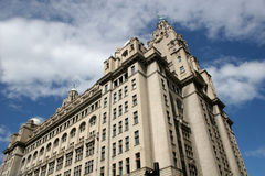 Liver Building,Liverpool. Looking up at the Liver building in Liverpool Stock Photos