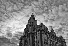 Liver Building Liverpool. The Liver Building in Liverpool, in black and white with clouds behind royalty free stock photography