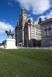 Liver Building, Liverpool, England, UK. Liver Building & Edward VII statue royalty free stock photography