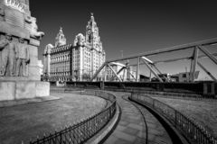 Liver Building Liverpool. Liverpool`s Historic Liver Building and Clocktower, Liverpool, England, United Kingdom royalty free stock photography