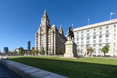 Liver Building Liverpool. Royal Liver Building is located at the Pier Head and along with the neighbouring Cunard Building and Port of Liverpool Building is one royalty free stock image
