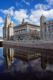 Liver Building and new canal, Liverpool, England Royalty Free Stock Photos
