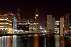 Liver building. Princes dock on the Liverpool waterfront & pierhead Royalty Free Stock Image