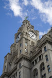 Liver buildings, Liverpool Pier Head. One of the 'Three Graces', with Liver bird and clock Stock Photo