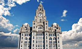 Liver Buildings on Liverpool waterfront. Liver Buildings on Liverpool Pier Head waterfront stock photography