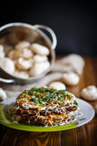 Liver cake stuffed with vegetables Stock Images