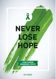 Liver Cancer Awareness Month Design. Green Brush Stroke Poster. Creative Green Brush Stroke and Silk Ribbon Symbol. October Awaren Stock Photo