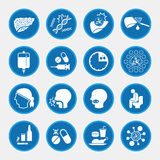 Liver cancer cause and treatment icons Royalty Free Stock Photo