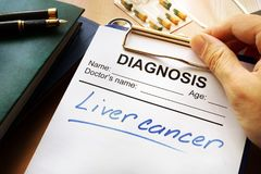 Liver cancer diagnosis on a form. Liver cancer diagnosis on a medical form Royalty Free Stock Photography