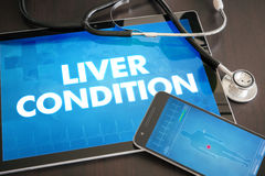 Liver condition (liver disease related) diagnosis medical. Concept on tablet screen with stethoscope stock images