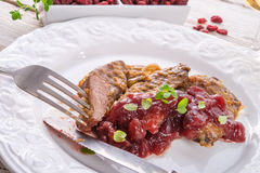 Liver with Cranberries Stock Images
