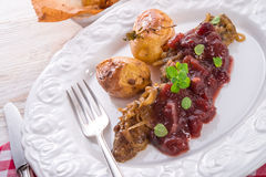 Liver with Cranberries Royalty Free Stock Photography