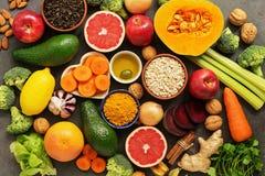 Liver detox diet food concept. Health foods high in antioxidants and fiber. Fruits,vegetables, nuts, olive oil, citrus , green tea