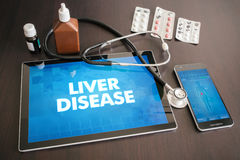 Liver disease (hepatitis, cirrhosis) diagnosis medical concept. On tablet screen with stethoscope Royalty Free Stock Image