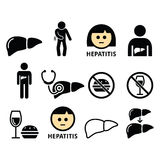 Liver disease, Hepatitis - health icons set Stock Photos