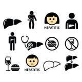 Liver disease, Hepatitis - health icons set Stock Photos