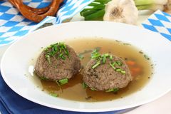 Liver dumpling soup Stock Photos