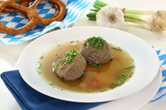 Liver dumpling soup Royalty Free Stock Photo