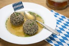 Liver dumpling soup Stock Image