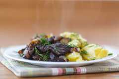 Liver fried with boiled potatoes Stock Photos