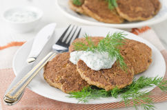 Liver Fritters With Pumpkin Stock Photography