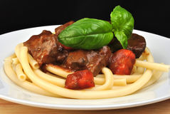 Liver goulash on pasta Royalty Free Stock Photography