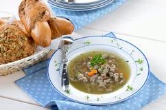 Liver noodle soup Stock Photo