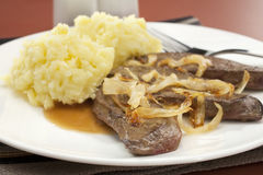 Liver and Onion with Mash Mashed Potato Royalty Free Stock Photography