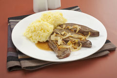 Liver and Onion with Mash Mashed Potato Stock Image