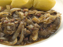 Liver with onions. Fried beef liver with onions and potatoes Stock Image