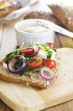 Liver paste sandwich with vegetables arugula and boiled egg Royalty Free Stock Photography