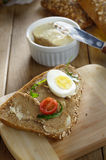 Liver paste sandwich with vegetables arugula and boiled egg Royalty Free Stock Images