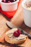 Liver pate on bread Royalty Free Stock Photography