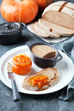 Liver pate and pumpkin orange marmalade Stock Image