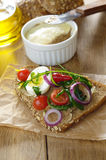 Liver pate sandwich with vegetables arugula and boiled egg Stock Images