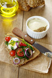 Liver pate sandwich with vegetables arugula and boiled egg Royalty Free Stock Photo