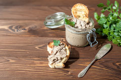 Liver pate with sandwiches Stock Photography