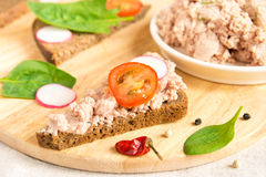 Liver pate sandwiches Royalty Free Stock Images
