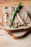 Liver pate on sliced bread Stock Photography