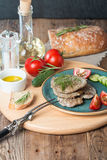 Liver patties with vegetables Royalty Free Stock Photos