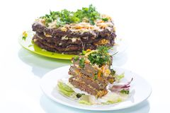 Liver pie layer cake stuffed with carrots Stock Photography