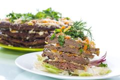 Liver pie layer cake stuffed with carrots Royalty Free Stock Photography